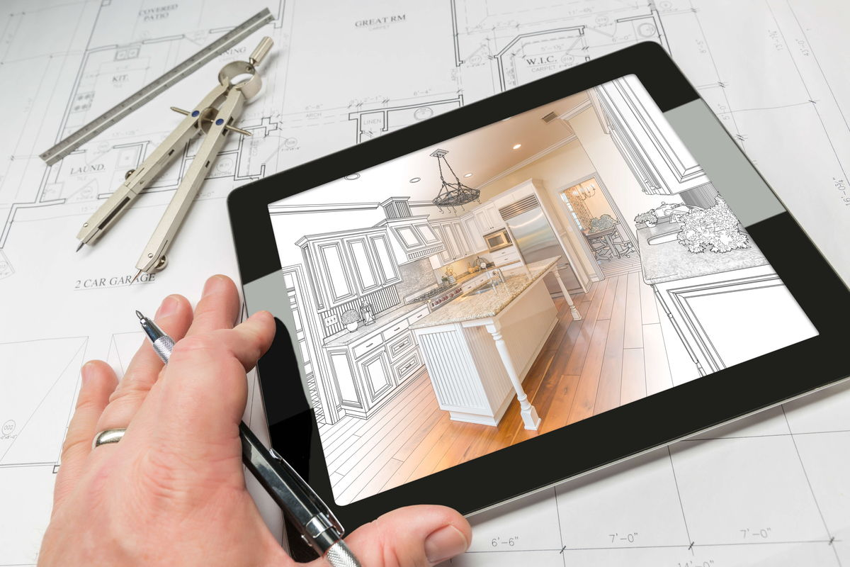 Custom Kitchen being drawn on Ipad