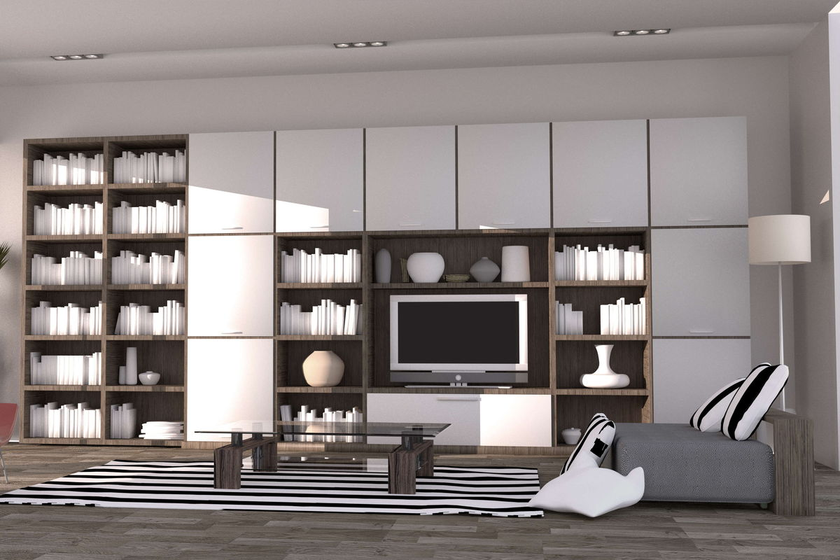 Custom wall unit made completly out of custom cabinets